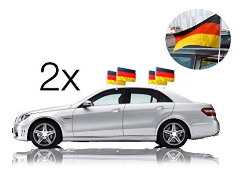 2x Autofahnen Autoflagge Deutschland Auto Autofahne Fahne Flagge Deutschland Fanartikel für Scheibe mit Halterung und 1x für Fußball Weltmeisterschaft 2018 Russland und 1x WM Planer Din A3 mit Spielplan