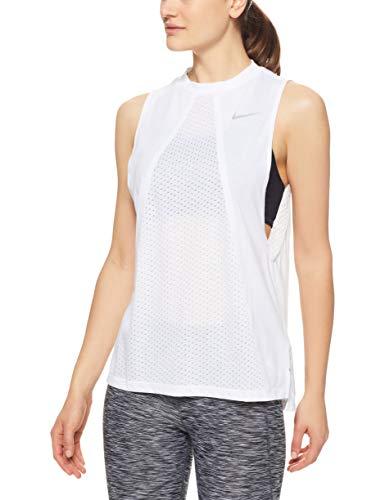 Nike Damen Dri-FIT Tailwind Top, White/Reflective Silver, L