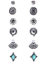 6 Paar Satz sortiert mehrfache Kristall Türkis Boho Bolzen Ohrringe Sets für Frauen
