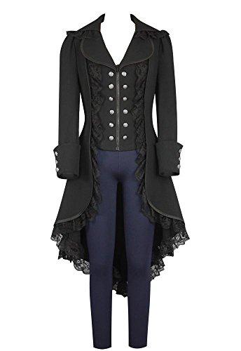 lancoszp Abrigo Gotico de Mmujer Chaqueta Victoriana Steampunk Negro, XL