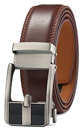 GFG Herren Gürtel,Leder Automatik Gürtel Für Herren Jeans Anzug Gürtel-3,5cm Breite-0100-125-Braun (Jeans Leder Gürtel Für Männer)
