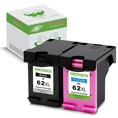 2 pacchi greenbox riciclato hp 62 xl 62xl cartucce d'inchiostro sostituzione (1x nero, 1x colore) per hp officejet 200, hp officejet 5740, hp officejet 8000, hp officejet 8040, hp envy 5540, hp envy 5640, hp envy 5643, hp envy 5642, hp envy 7640, hp envy 5644, hp envy 7645 stampante