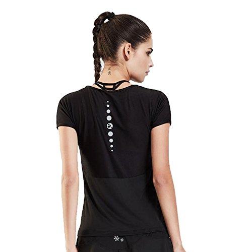 Wgwioo Frauen Sportbekleidung Schnell Trocknend Yoga Kurzarm Performance T-Shirt Top Gym Workout Kleidung Black M -