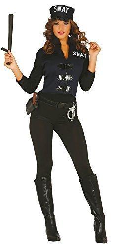 Damen Sexy SWAT Police Rettungsdienste Junggesellinnenabschied KostüM Kleid Outfit (Kostüm Swat Hut)