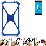 K-S-Trade Bumper für Vernee Mars Pro 4G Silikon Schutz Hülle Handyhülle Silikoncase Softcase Cover Case Stoßschutz, blau (1x)