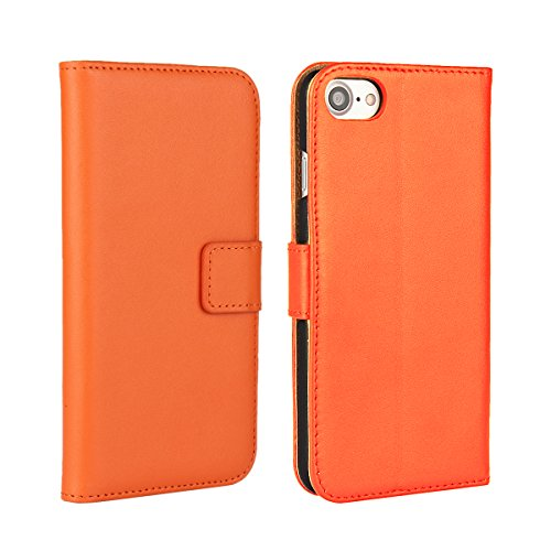 Meimeiwu Alta Qualità Slim Flip Cover Leather Wallet Cover Case Custodia Per iPhone 7 - Pink Arancione
