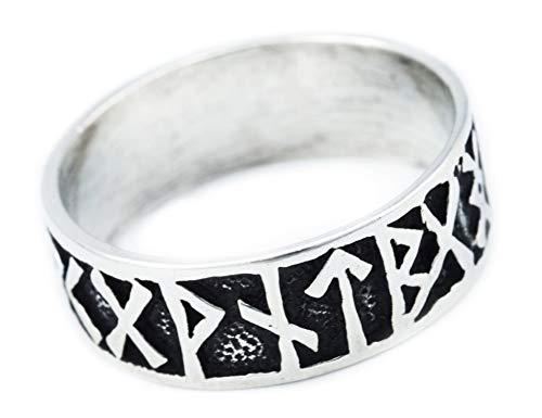 Windalf Wikinger Ring FUTHARK h: 0.9 cm Runen 925 Sterlingsilber (Silber, 54 (17.2))