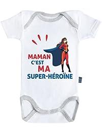 Maman c'est ma super-héroïne - Body Bébé manches courtes - Coton - Blanc - Coutures grises - Baby Geek - Parent