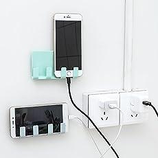 Skudgear Multipurpose Wall Phone Holder Socket Charging Box Bracket Stand Holder Shelf Mount Support Universal for Mobile Phone Tablet