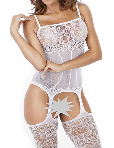 eiliger sexy Wäsche-Crotchless Körper-Strumpf-Fischnetz-Bodysuit (Weiß) ()