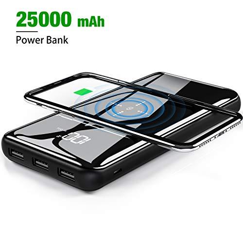 Gnceei Powerbank Wireless Charger 25000mAh【2019 Neu Glasoberflächen】 Externer Akku, 2 in 1 Kabellose Qi Power Bank mit Micro&USB C Dual Eingänge und 3 Ausgänge hohe Kapazität für das Smartphones