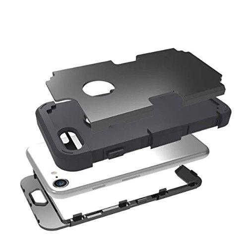iPhone 7 hülle, Lantier 3 in 1 [weicher harter Tough Case] [Anti Scratch] [Stoßdämpfung ] Leichte Schlank Voll Body Armor Schutzhülle für Apple iPhone 7 (4,7 Zoll) Mint Green + Grau Black