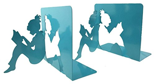 3D paper-cut Little Girl ist Lesung Patten Metall Buchstützen für Kinder Jugendliche Lehrer Schüler erwachsene Studie Home Schule Bibliothek Büro Dekoration Geburtstag Weihnachten Geschenk blau