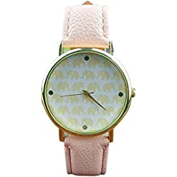 Elegant Ladies' Dress Elephant Dial Gold Leather Quartz Watch - Pink