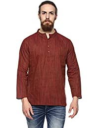 Vivids India Men's Rust Short Kurta - G175