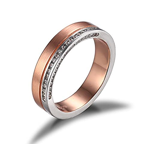 JewelryPalace CZ Anniversary Wedding Band Channel Set Ring 2 Tone 925 Sterling Silver 18K Rose Gold Plated Size