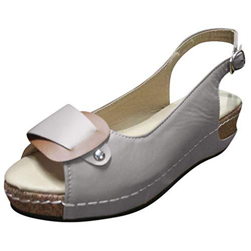SEHRGUTGE Retro Slingback Peep Toe Sandalen für Damen, Sommer Outdoor Wedges Ledersandalen, Schnallenriemen Platform Cork Casual Sandalen Cork High Heel Slingback
