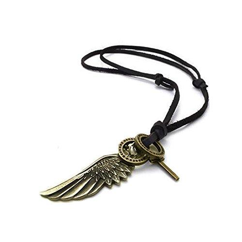 AKKi jewelry Herren braun Halskette mit massivem Bronze-farbigen Flügel Anhänger in Ring Kette Schwarz echt Leder Braun