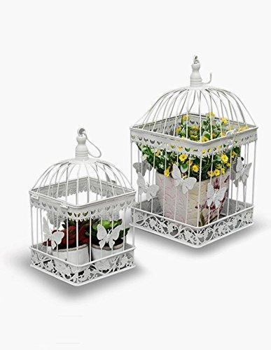 YANZHEN Flower Pot étagère de style européen de fer mur suspendu cadre de fleur Square Bird Cage décoration Props Fenêtre ornements Flower Rack Etagère de Fleur ( taille : 25cm+19cm )