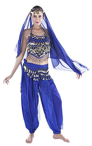 Seawhisper Aladdin Kostüm Damen Bauchtanz Kostüm Damen Blau Karnevalkostüm Oberteil Schleier Hüfttuch Hose (Arabische 1001 Nacht Kostüm)