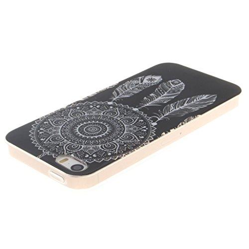 """SsHhUu iphone 5 Coque, Beau Fleur Ultra Slim Doux TPU Silicone Protecteur Painting Art Étui Housse Case Cover Pour Apple iphone 5 5S SE (4.0"""") Black Campanula"""