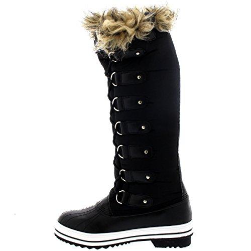 Damen Pelz Cuff Schnüren Gummisohle Knie Hoch Winter Schnee Regen Schuh Stiefel Schwarz Nylon