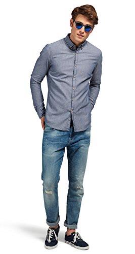 Tom Tailor Denim für Männer Shirt / Blouse gemustertes Hemd black iris blue