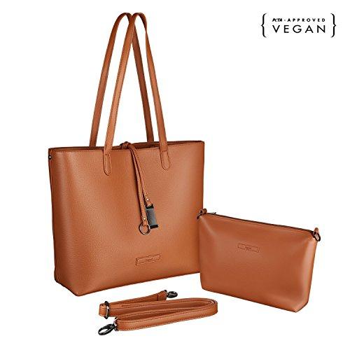 tragwert. Borsa da donna Shopping Bag LARA marrone - Borsa tote a spalla Shopper Borsetta Pochette