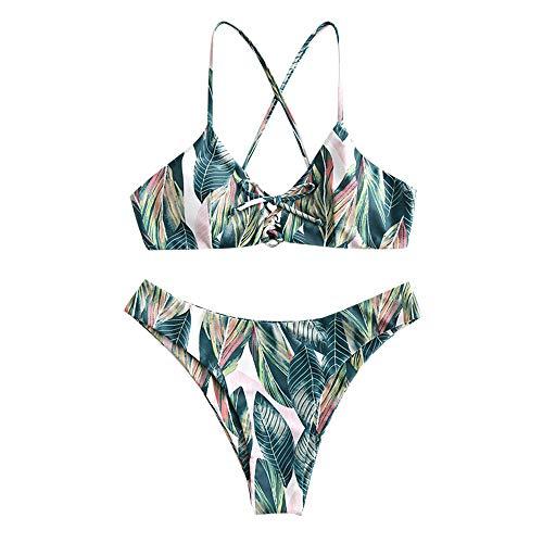ZAFUL Damen Sommer Blattdruck Schnürung Kreuziges Bikini Bademode Badeanzug(Multi S) -