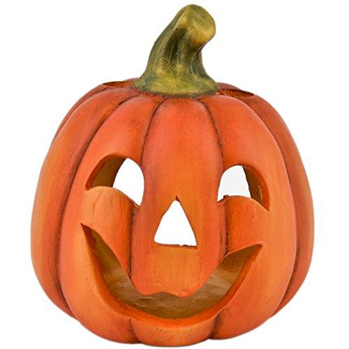 Dadeldo Kürbis für Teelicht Deko Objekt Herbst Halloween Keramik Orange (13x12x12cm)