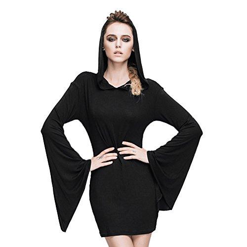 Devil Fashion Steampunk Gothic Women's Pure Black Cotton Horn Sleeve Dress How110 (L, Black) steampunk buy now online