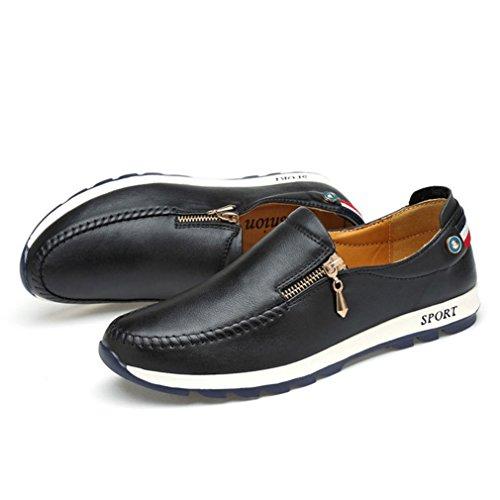 Feidaeu Derby Hommes Automne PU Cuir Souple Plate Léger Business Soulier Loisir Loafers Noir