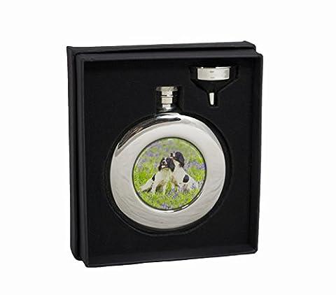 Bisley Hip Flask 4.5oz Round Spaniels stainless steel in Presentation Box