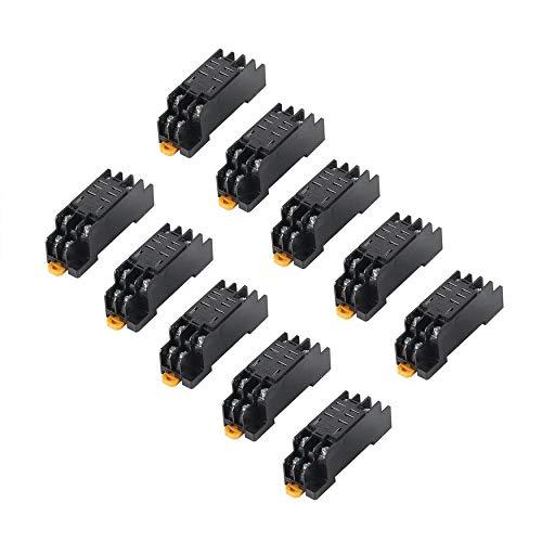 Yao DC 24V 10PCS Coil Power Relay LY2NJ DPDT 8 Pin PTF08A JQX-13F with Socket Base Pin Relay Socket