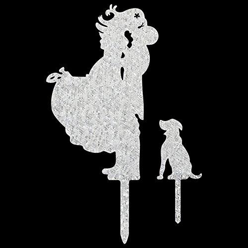 milie mit PET Hund Acryl Kuchen Topper Für Verlobung Familie Party Kuchen Dekoration Hochzeit Kuchen Topper, silber (Dr Seuss Cupcake Toppers)