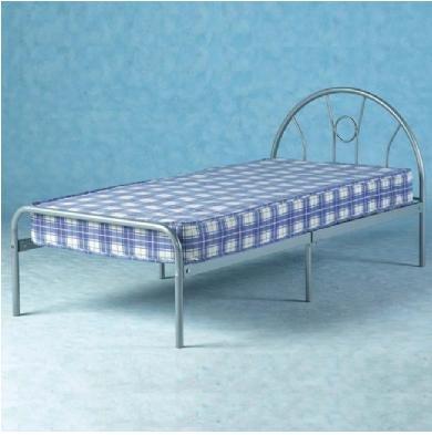 GreenForest® Home Livingroom Kid Dorm Bed Frame Only Metal Silver Finish Unadjustable - low-cost UK light store.