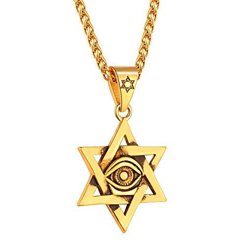 b18a92bb3ce6 U7 Collar de Estrella de David con Evil Eye Cadena Acero Inoxidable para  Hombre Collar de
