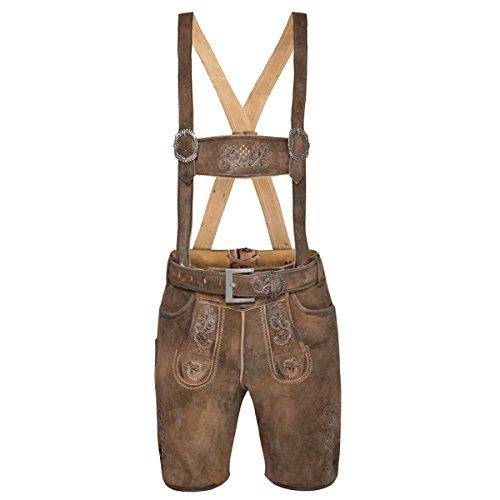 MarJo Trachten kurze Lederhose Cornelius in Braun, Größe:58, Farbe:Braun
