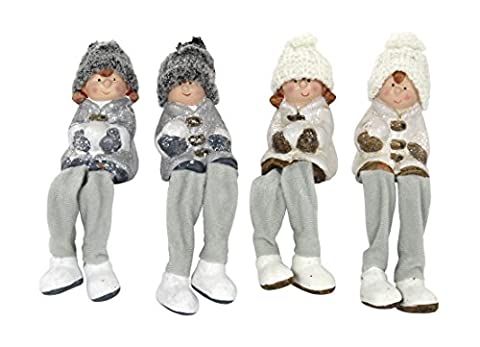 4 Stück Deko Figur Winter-Kind Kantenhocker