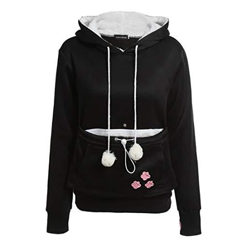 Inlefen Femme Sweat à Capuche Confortable Tops de Sport Manches Longues Casual avec Kangourou Chat Chien Poche Automne Hiver Pullover Noir L