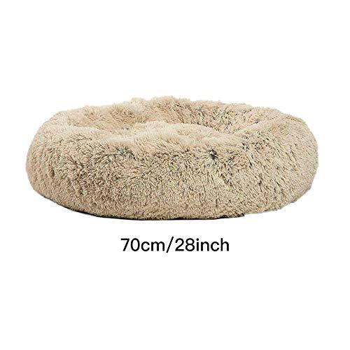 Lit pour Chien apaisant Beignet Rond Cuddler Nid Chaud Doux en Peluche Confortable Shag Vegan Fourrure Donut Lavable À La Machine Étanche Bas