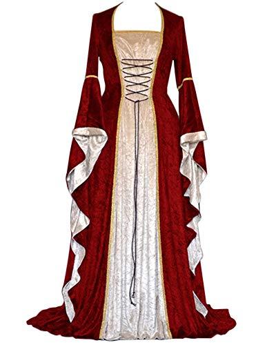 GladiolusA Damen Langarm Renaissance Mittelalter Kleid Viktorianischen Königin Kostüm Maxikleid Weinrot L