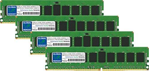 GLOBAL MEMORY 32GB (4x 8GB) DDR42400MHz PC4-19200288-pin ECC Registered DIMM (RDIMM), Speicher RAM KIT für Servers/WORKSTATIONS/MAINBOARDS (4RANK KIT CHIPKILL,) - Ecc, Registered Quad