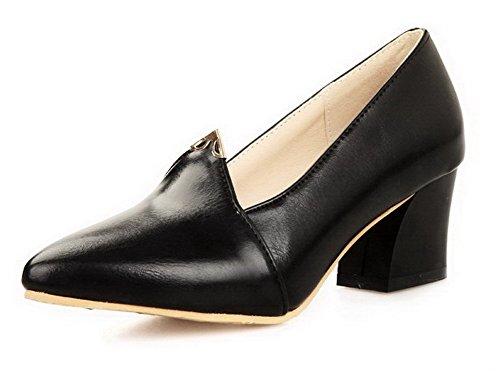 AgooLar Femme à Talon Correct Matière Souple Couleur Unie Tire Pointu Chaussures Légeres Noir