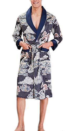 Hombres Robe Satín Kimono Batas Hombre Manga Larga Albornoz Pijamas Mujer Impresión Camisones Cómodo...