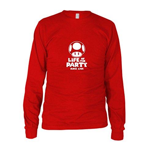 Party Pilz - Herren Langarm T-Shirt, Größe: L, Farbe: rot (Super Mario Bros Party Ideen)