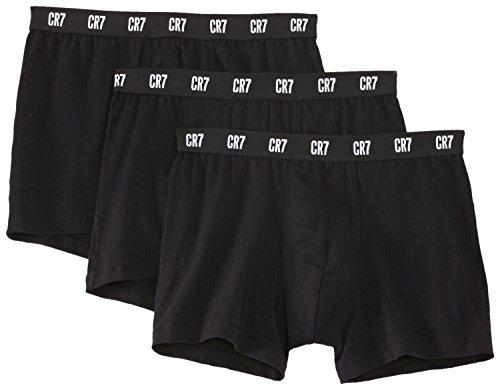 CR7 Herren Basic Trunk 3-Pack Unterhose, Black W. Multi Waistband, L
