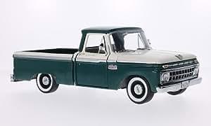 Ford F-100 Douane Cab Pickup, blanche/vert foncé, 1965, voiture miniature, Miniature déjà montée, Sun Star 1:18