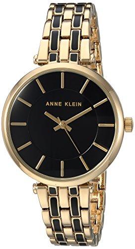 Anne Klein Women's AK/3010BKGB Gold-Tone and Black Bracelet Watch