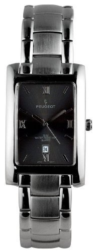 Peugeot Men's Silver-Tone Rectangular Case Grey Dial Stainless Steel Wracelet Watch #114M